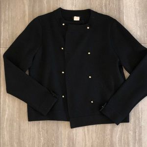 Black JCrew Sweater with Gold Buttons